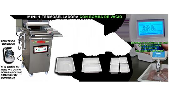 Máquina termoselladora con bomba de vacío para la industria agroalimentaria