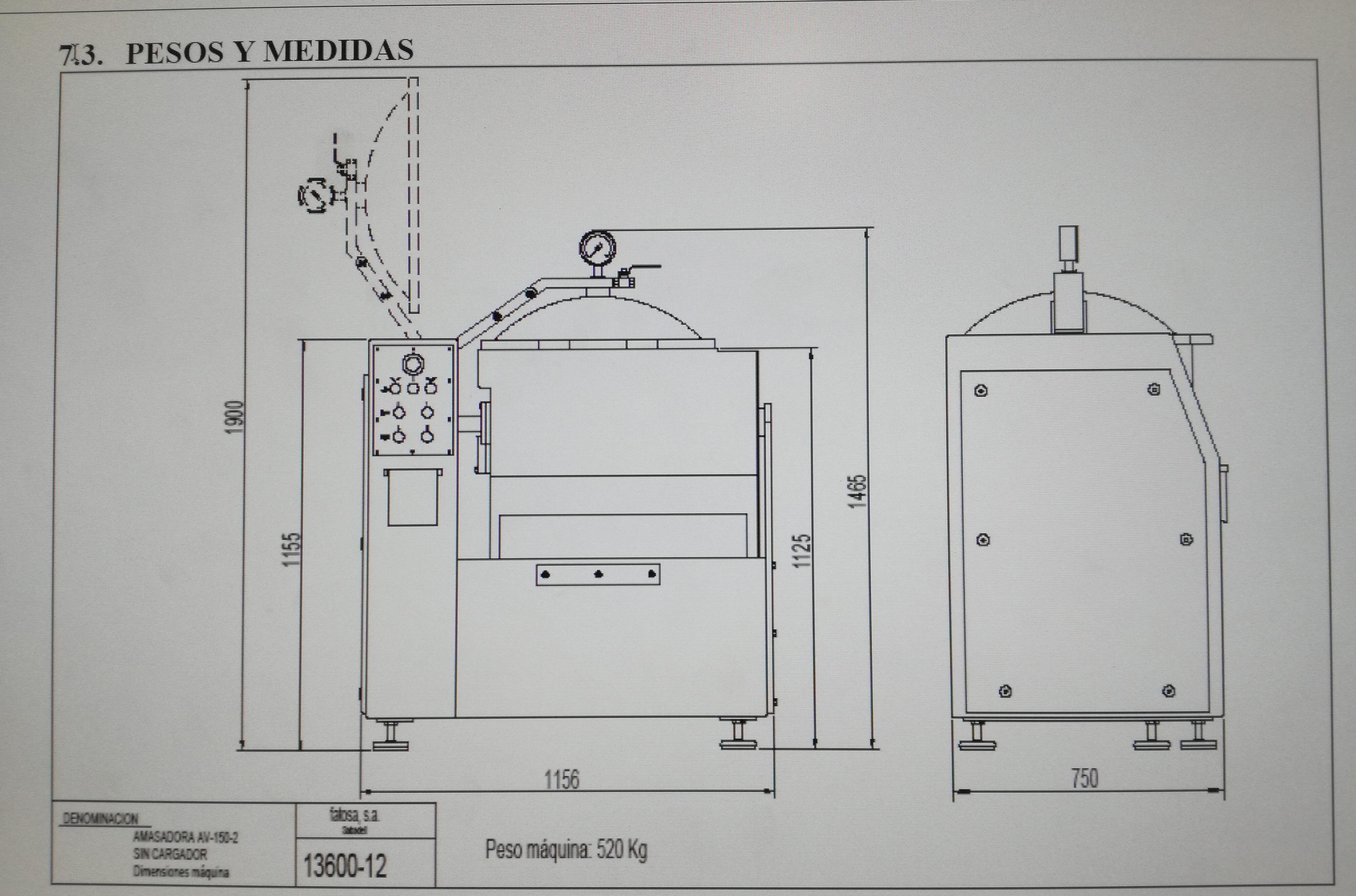 AMASADORA FATOSA 150 VACIO Y ELEVADOR